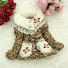 New Girls Jacket Sweet Leopard Parka Kids Winter Coat Warm Faux Fur Outerwear