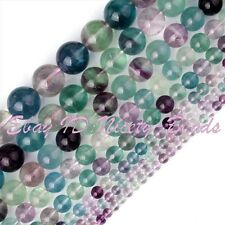 """Natural Fluorite Beads Multicolor Round Smooth Gemstone Strand 15"""" 2,4,6,8,10mm"""