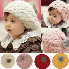 Lovely Kid Baby Children Warm Crochet Knitting Beret Hat Beanie Cap Headwear