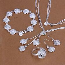 Ladys Solid 925Silver Jewelry  Rose Sets Bracelet Bangle Necklace Ring Earrings