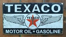 Texaco Motor Oil Gasoline Tin Metal Sign Winged Star Logo Chevron Shell Gas F77