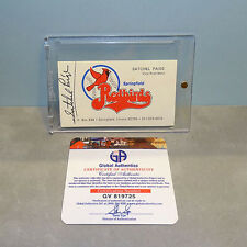 SATCHEL PAIGE Monarchs Indians Browns A's AUTOGRAPHED BUSINESS CARD w/ COA