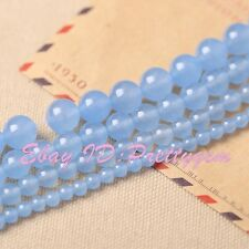 """4-14mm Smooth Round Skyblue Jade Gemstone For DIY Jewelry Making Loose Beads 15"""""""