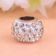 5/10/50pcs Silver Plated Crystal Charms Beads Fit European DIY Bracelet Making