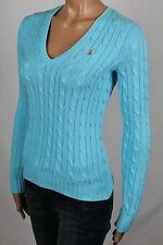 Ralph Lauren Blue Cable Knit V-Neck Sweater Orange Pony NWT