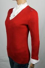 Ralph Lauren Red Ribbed V-Neck Sweater NWT