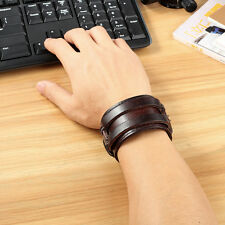 Mens Double Genuine Leather w/ Rivet Wide Wristband Bangle Cuff Bracelet