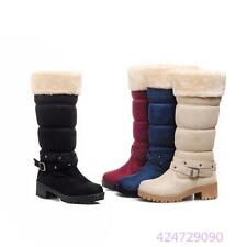 Womens Ladies Knee High Pull on Block Med Heels Shoes Winter Snow Boots All Size