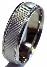 MEN 14K WHITE GOLD WEDDING BAND RING 7 MM WIDE COMFORT FIT DIAMOND CUT BRAND NEW