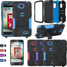 For LG Optimus L90 D405 D415 Hybrid Stand Rugged Armor Case Hard Impact Cover