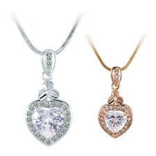 18K White/Yellow Gold Filled Lady's Heart Pendant Bling Sapphire Chain Necklace