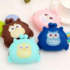 Cute Girls Coin Purse Owl Print Silicone Mini Wallet Change Purse Keyring Pouch