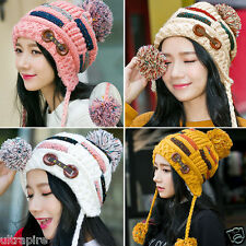 Women Girls Braided Beret Baggy Knit Crochet Beanie Hat Ski Cap Winter Warm Cap
