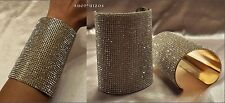 """GOLD or SILVER PAVE CRYSTAL RHINESTONE TALL 4"""" CUFF STATEMENT BRACELET NEW"""