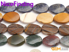 """18x25mm Oval Twist Natural Gemstone Beads For Jewelry Making Assorted Stone 15"""""""