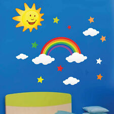 Rainbow Sun Star Cloud Wall Stickers Kids children Nursery wall Decals