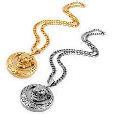 7mm Mens Silver Gold Curb Chain Large Gold Lion Stainless Steel Pendant Necklace