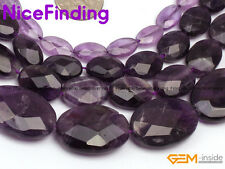 Natural Faceted Purple Amethyst Oval Stone Beads For Jewelry Making Gemstone 15""