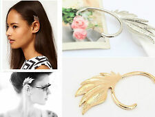 Fashion Lady Sliver&Gold Alloy Plated Rock Wing Cuff Clip Ear Stud Wrap Earring