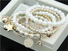 Multilayer Pendant Pearl Beaded Metal Charm Bangle Chain Jewelry Bracelet NEW