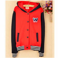 English Letters Star Badge Womens Hoodie Outwear Sweats Top Pockets Snap Button