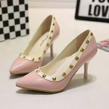 Womens Rivet Pumps Pointed Toe Sexy High Heels Shallow Mouth Stilettos Shoes