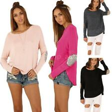 Womens Sequins Splice Irregular Tops Blouse Long Sleeve Loose T-shirt Shirt Q9LU