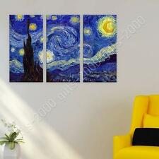 Synthetic CANVAS  Vincent van Gogh Starry Night 3 Panels fine art decor print