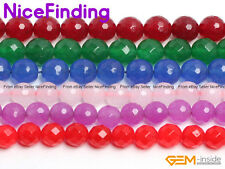 "Round Faceted Colorful Jade Jewellery Making Design Loose Beads Gemstone 15"" DIY"