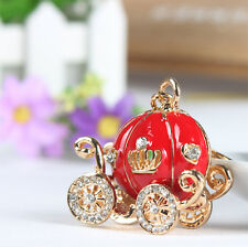Fashion Red Pumpkin Carriage New Pendent Charm Crystal Key Ring Chain Party Gift