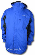 New Columbia mens waterproof Omni Tech hooded rain jacket S M L XL XXL Blue