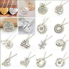 2016 Fashion Heart Love Family Couple Lovers Necklace Pendant Chain Jewelry Gift