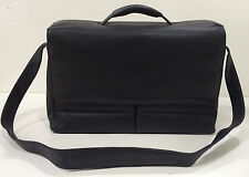 New KORCHMAR Leather Black KF1113 Magnetite Flap Over Briefcase $375