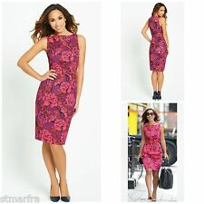 NEW MYLEENE KLASS @ VERY DRESS PENCIL SHIFT PINK FLORAL RETRO OCCASION SZ 8 - 16