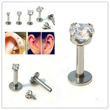 Gem Round Tragus Lip Ring Piercing Monroe Earring Cartilage Stud Body Piercing