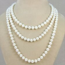 "long AA 8-9mm white pink black Natural freshwater pearl necklace 50"",60"" s059"
