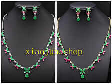 NATURAL  JEWELRY RED RUBY GREEN EMERALD WHITE CZ NECKLACE EARRING SET S024