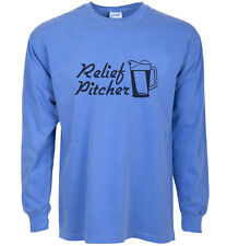 long sleeve t-shirt for men Relief Pitcher funny baseball beer drinking shirt