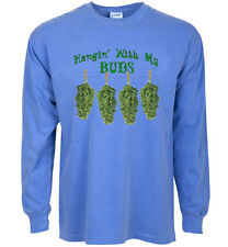 long sleeve t-shirt for men hangin' with my buds funny pot shirt weed 420 stoner