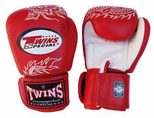 FBGV-6 Thai Boxing Gloves Muay Thai TWINS 'Dragon' red leather