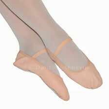 Girls PINK LEATHER BALLET SHOES Pre Sewn Elastics Full Sole By Dancing Daisy