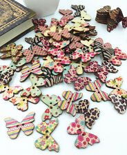 20/50/100 PCS Mixed Butterfly Wooden Buttons 2 Holes Fit Sewing Scrapbook 28MM