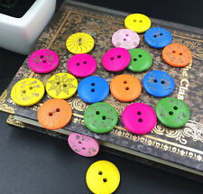 20-100pcs Mixed 2 Holes Wooden Buttons Fit Sewing Clothing accessories 20mm