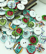 Free 20-100PCS Wood Buttons Round 2Hole Fit Sewing Scrapbooking Craft 20mm