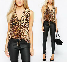 Womens Ladies Sleeveless Leopard Casual V-Neck Tank T-Shirt Vest Tops Blouse