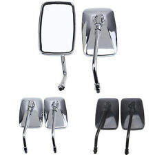 Chrome Black Motorcycle Rear View Side Mirrors 10mm Bolt Large Visual Angle