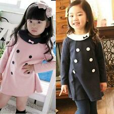 2-7Y Lovely Baby Children Clothes Girls Kids Long Sleeve Skirt Dress Coat Party
