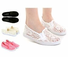 Ladies Slip On Trainers Size 3 to 8 UK Summer Plimsolls & Pumps Canvas Shoes 16
