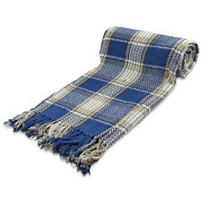 BLUE Highland Tartan Check 100% Cotton  Sofa / Bed Throw in 5 Sizes