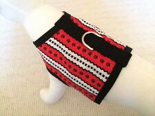 Red, White, And Black Dog Harness Vest Clothes Apparel